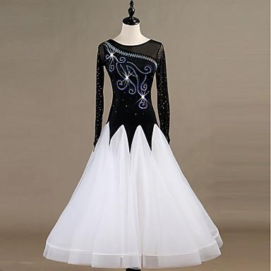 Klasični plesovi Haljine Žene Seksi blagdanski kostimi Spandex / Organza Kombinacija materijala / Kristali / Rhinestones Dugih rukava Haljina