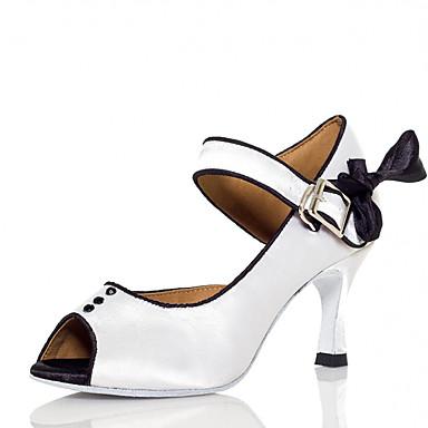 abordables Chaussures de Danse-Femme Chaussures de danse Satin Chaussures Latines Strass / Noeud Talon Talon Bobine Blanche / Rose / Utilisation / Entraînement