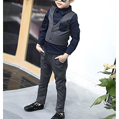 povoljno Kompletići za dječake-Djeca Dječaci Osnovni Print Bez rukávů Pamuk Komplet odjeće Plava
