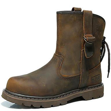 levne Dámská obuv-Dámské Boty Fashion Boots Rovná podrážka Nappa Leather Do půli lýtek Vintage / Na běžné nošení Zima Hnědá / Obuv military styl