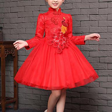 povoljno Zazor-Djeca Djevojčice Vintage Kinezerije Party Dnevno Kolaž Čipka Mašna Mrežica Dugih rukava Haljina Red