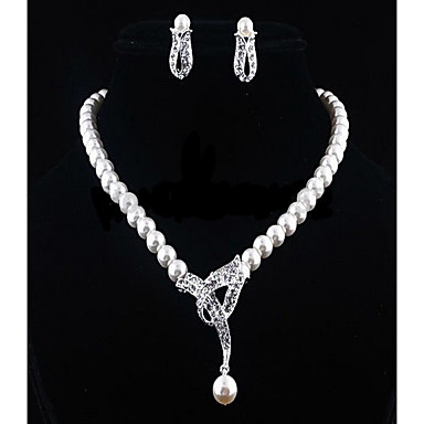 cheap Jewelry Sets-Women's White Cubic Zirconia Drop Earrings Pearl Necklace Beads Flower Ladies Stylish Romantic Elegant Bridal Pearl Rhinestone Earrings Jewelry Silver For Wedding Gift 1 set