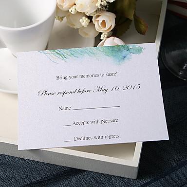 flat kort bryllupsinvitasjoner 20 svare kort blomster stil perle