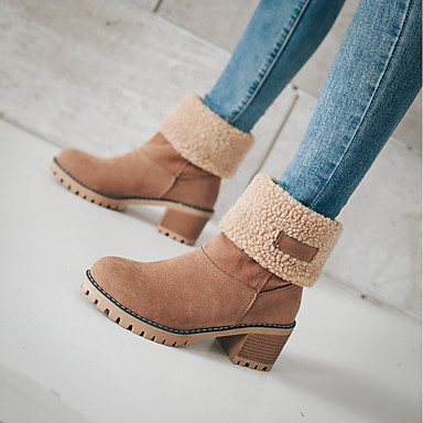cheap Super Clearance-Women's Snow Boots Suede Fall & Winter Minimalism Boots Chunky Heel Round Toe Gray / Green / Camel / Color Block