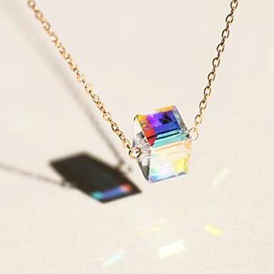 levne Dámské šperky-Dámské Křišťál Náhrdelníky s přívěšky Solitaire dámy příroda Módní Iridescent Slitina Zlatá 40 cm Náhrdelníky Šperky 1ks Pro Večírek Dar