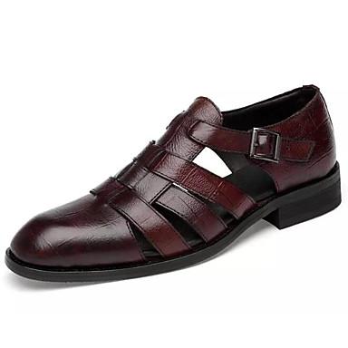 Muškarci Udobne cipele Mekana koža Ljeto Sandale Crn / Braon