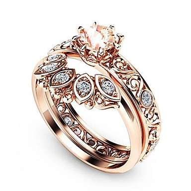 voordelige Ring-Dames Ring Ring Set Kubieke Zirkonia 2pcs Goud Rose Koper Roos verguld Gesimuleerde diamant Dames Vakantie Koreaans Bruiloft Feest Sieraden Bloemblad Schattig