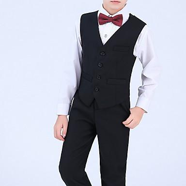 povoljno Najprodavanije-Djeca Dječaci Aktivan Jednobojni Dugih rukava Normalne dužine Komplet odjeće Crn