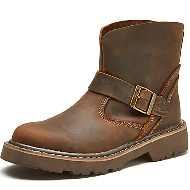 levne Dámská obuv-Dámské Boty Rovná podrážka Nappa Leather Do půli lýtek Vintage / Na běžné nošení Zima Hnědá