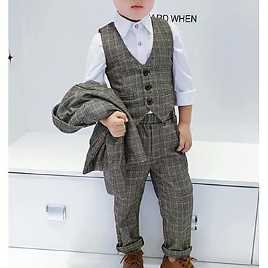 povoljno Kompletići za dječake-Djeca Dječaci Aktivan Karirani uzorak Dugih rukava Normalne dužine Komplet odjeće Sive boje