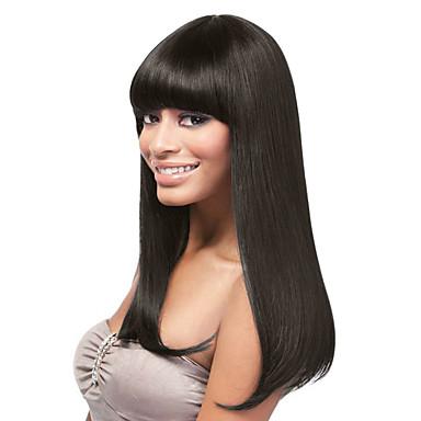 povoljno Ekstenzije od ljudske kose-Ljudska kosa Lace Front Perika Ravne šiške stil Indijska kosa Ravan kroj Silky Straight Perika 16 inch s dječjom kosom Prirodna linija za kosu Afro-američka perika 100% rađeno rukom Glueless Žene