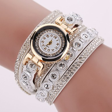 cheap Watches-Women's Bracelet Watch Quartz Leather Black / White / Silver Casual Watch Imitation Diamond Analog Sparkle Fashion - Black Brown White One Year Battery Life / Tianqiu 377