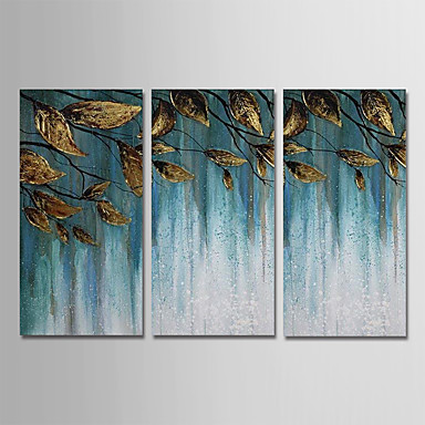 Hang oslikana uljanim bojama Ručno oslikana - Sažetak Cvjetni / Botanički Moderna Uključi Unutarnji okvir / Tri plohe / Prošireni platno