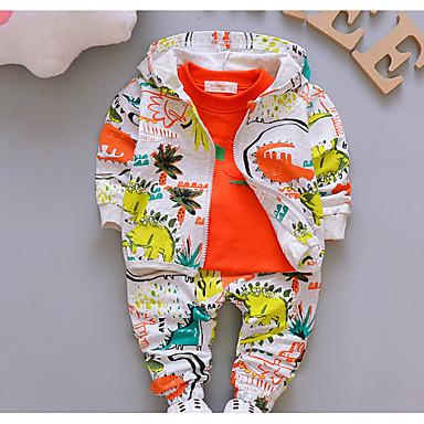 cheap Baby & Toddler Boy-Baby Boys' Basic Daily Print Long Sleeve Regular Cotton Clothing Set Green / Toddler