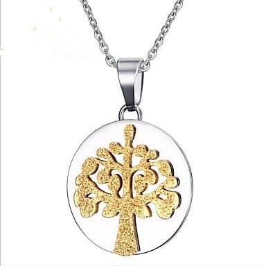 levne Pánské šperky-Pánské Zlatá Náhrdelníky s přívěšky Klasika Strom života Život stromu Módní Nerezové Stříbrná 50 cm Náhrdelníky Šperky 1ks Pro Párty Denní