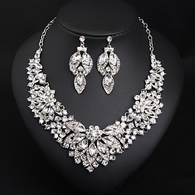 cheap Jewelry Sets-Women's Multicolor AAA Cubic Zirconia Drop Earrings Bib necklace Vintage Style Flower Rainbow Ladies Stylish Luxury Romantic Elegant Color Rhinestone Earrings Jewelry Purple / Rainbow / Champagne For