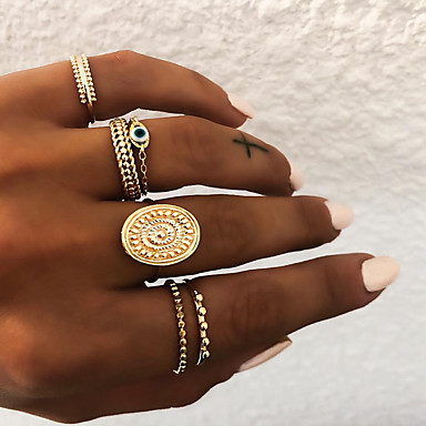 cheap Rings-Women's Knuckle Ring Ring Set Multi Finger Ring 5pcs Gold Silver Resin Alloy Oval Ladies Unusual Asian Gift Daily Jewelry Retro Sun Eyes Cool