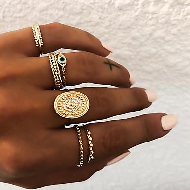 billige Motering-Dame Knokering Ring Set Multi-fingerring 5pcs Gull Sølv Harpiks Legering Oval damer Uvanlig Asiatisk Gave Daglig Smykker Retro Sol Øyne Kul