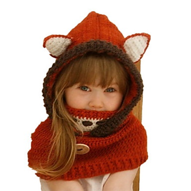 cheap Kids' Hats & Caps-Toddler Girls' Sweet Animal Cotton Hats & Caps Red M