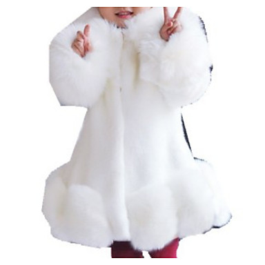 cheap Baby & Kids-Kids Girls' Basic Solid Colored Long Sleeve Faux Fur Suit & Blazer White