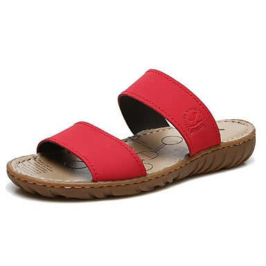 levne Dámské žabky a pantofle-Dámské Pantofle a Žabky Komfortní boty Rovná podrážka Kůže Vintage / Na běžné nošení Léto Černá / Hnědá / Červená