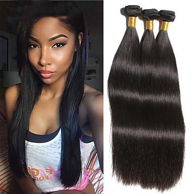 povoljno Ekstenzije za kosu-3 paketa Brazilska kosa Ravan kroj Ljudska kosa Produžetak Bundle kose Jedan Pack Solution 8-28 inch Natural Prirodna boja Isprepliće ljudske kose Svilenkast Smooth Najbolja kvaliteta Proširenja / 8A