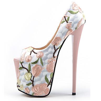 preiswerte Damenschuhe-Damen High Heels Stöckelabsatz Peep Toe Kunststoff Britisch / Minimalismus Frühling & Herbst / Sommer Mandelfarben / Rot / Hochzeit / Party & Festivität / Party & Festivität