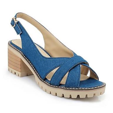 voordelige Damessandalen-Dames Comfort schoenen Denim Lente Sandalen Blokhak Zwart / Donkerblauw / Lichtblauw