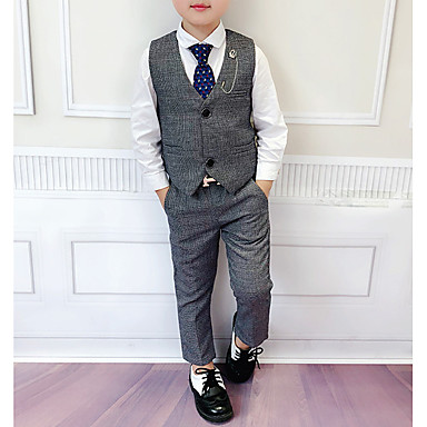 cheap Clearance-Kids Boys' Basic Solid Colored Sleeveless Cotton Clothing Set Gray