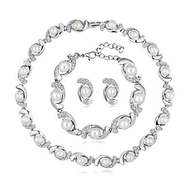 Žene Ogrlica Klasičan slatko Moda Elegantno Imitacija bisera Naušnice Jewelry Pink Za Vjenčanje Party 1set