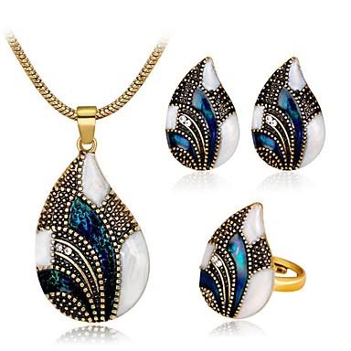 levne Dámské šperky-Dámské Modrá Syntetický akvamarín Vintage náhrdelník Retro Kapka dámy Vintage Elegantní ozdobný Náušnice Šperky Zlatá / Stříbrná Pro Párty Denní 1 sada