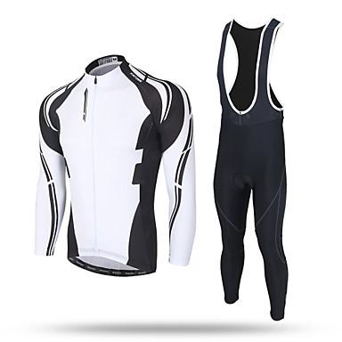 XINTOWN สำหรับผู้ชาย แขนยาว Cycling Jersey with Tights สีดำ จักรยาน กางเกง เสื้อยืด รายการถุงน่อง ระบายอากาศ 3D Pad แถบสะท้อนแสง กระเป๋าหลัง Sweat-wicking ฤดูหนาว กีฬา / สแปนเด็กซ์ / Elastane