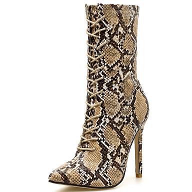 levne Dámská obuv-Dámské Boty Fashion Boots Vysoký úzký Syntetický Do půli lýtek Bristké Podzim zima Hnědá / Party / Leopard