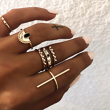 Women's Retro Sideways Cross Knuckle Ring Ring Set Multi Finger Ring Resin Alloy Cross Ladies Vintage Punk Boho Ring Jewelry Gold / Silver For Gift Daily ...
