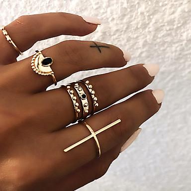 billige Motering-Dame Knokering Ring Set Multi-fingerring 6pcs Gull Sølv Harpiks Legering Sektor damer Vintage Punk Gave Daglig Smykker Retro Sideveis Cross Kors Kul