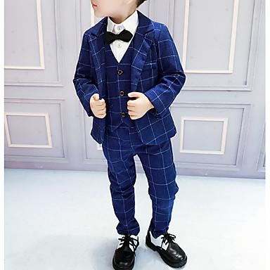 povoljno Kompletići za dječake-Djeca Dječaci Osnovni Karirani uzorak Dugih rukava Pamuk Komplet odjeće Plava