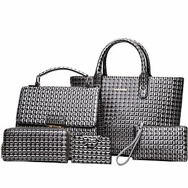 povoljno Clearance-Žene Reljefni uzorak PU Bag Setovi Kompleti za vrećice 5 kom Crn / Braon / Lila-roza / Jesen zima