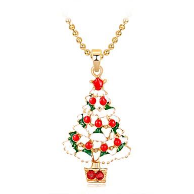 povoljno Modne ogrlice-Žene Ogrlice s privjeskom 3D Božićno drvce dame Klasik slatko Moda Umjetno drago kamenje Legura Duga 47 cm Ogrlice Jewelry 1pc Za Božić Nova Godina