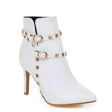levne Dámská obuv-Dámské Fashion Boots PU Zima Boty Vysoký úzký S uzavřeným palcem Kotníčkové Černá / Béžová / Růžová