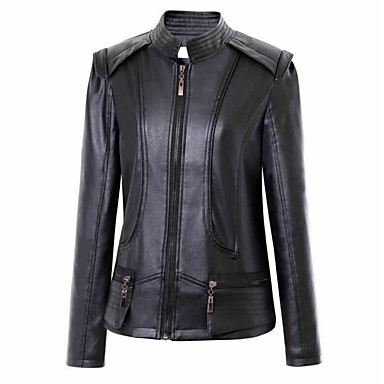 7adaa89aae6 Women s Daily   Holiday   Going out Active   Street chic Spring   Fall    Winter Plus Size Regular Leather Jacket