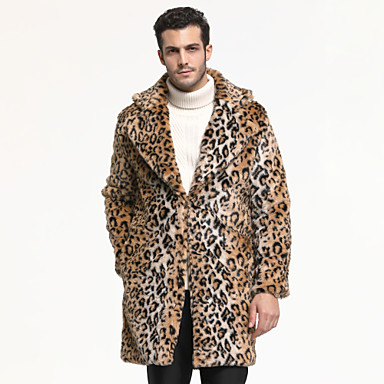 Long Sleeve Faux Fur Wedding / Party / Evening Men's Wraps With Leopard Print Coats / Jackets