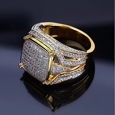 cheap Jewelry & Watches-Men's Ring Signet Ring Cubic Zirconia 1pc Gold Copper Rhinestone Geometric Stylish Luxury Hip Hop Wedding Party Jewelry Classic Cool