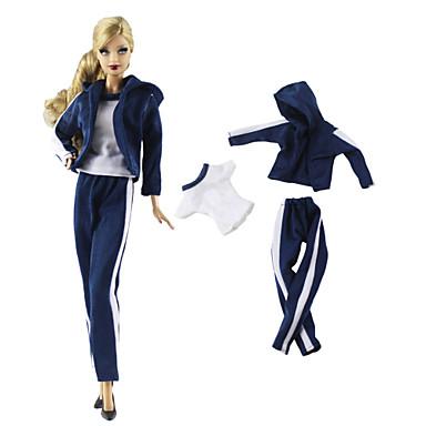voordelige Poppenaccessoires-Pop Outfit Pop jas Poppenbroek Voor Buiten 3 pcs Voor Barbie Wit + blauw Geweven stof Doek Katoenen Doek Jas / Top / Broeken Voor voor meisjes Speelgoedpop