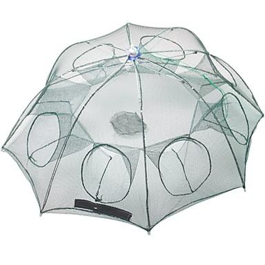 preiswerte Fischnetze-Faltendes Regenschirm-Fischen-Krabben-Garnelen-Fallen-Netz 0.65 m Nylon 3*3 mm Tragbar Verstellbar Leichte Bedienung