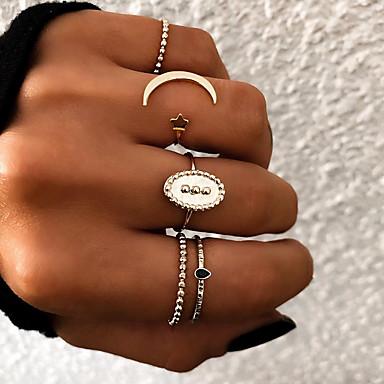 billige Motering-Dame Knokering Ring Set Multi-fingerring 5pcs Gull Sølv Harpiks Legering Oval damer Uvanlig Unikt design Gave Daglig Smykker Retro Stjerne Halvmåne Kul