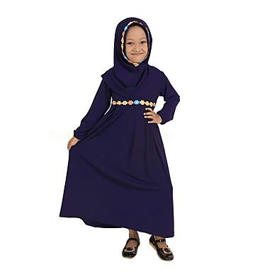 povoljno Odjeća za bebe-Dijete Djevojčice Vintage / Osnovni Dnevno / Škola Jednobojni Dugih rukava Midi Pamuk Haljina Plava / Dijete koje je tek prohodalo