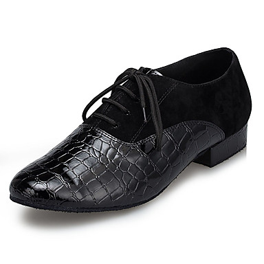 cheap Men's Dance Shoes-Men's Dance Shoes Faux Leather / Cowhide Modern Shoes Splicing Sneaker Thick Heel Black / EU43