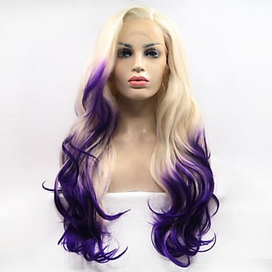 Synthetic Lace Front Wig Body Wave White Layered Haircut Platinum Blonde  130% Density Synthetic Hair 26 inch Women s Women White   Purple Wig Medium  Length ... 33374a6080