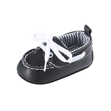 voordelige Babyschoenentjes-Jongens / Meisjes Comfortabel / Eerste schoentjes PU Laarzen Peuter (9m-4ys) Kanten stiksel / Veters Zwart / Beige / Blauw Herfst winter