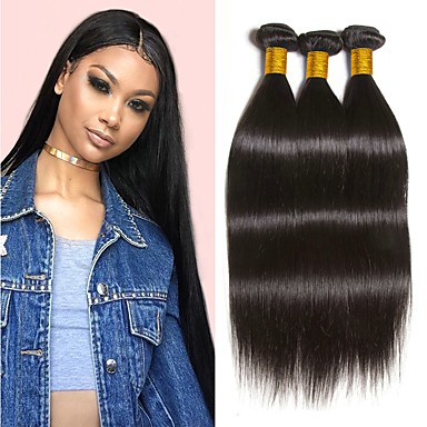 cheap Hair Extensions-3 Bundles Peruvian Hair Straight Remy Human Hair 100% Remy Hair Weave Bundles 300 g Natural Color Hair Weaves / Hair Bulk Human Hair Extensions 8-28 inch Natural Color Natural Black Human Hair Weaves
